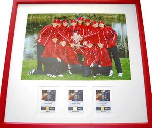 2007 U.S. Solheim Cup Team autographed photo framed with badges (Paula Creamer Beth Daniel Natalie Gulbis Betsy King)