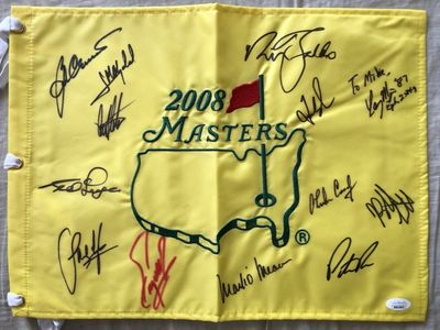 2008 Masters flag autographed by 13 winners Fred Couples Ben Crenshaw Nick Faldo Bernhard Langer Patrick Reed Bubba Watson JSA