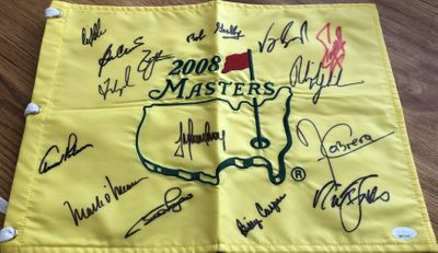 2008 Masters golf pin flag autographed by 15 winners Arnold Palmer Phil Mickelson Billy Casper Fred Couples Ben Crenshaw Nick Faldo