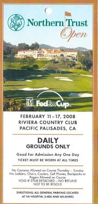 2008 Northern Trust Open Riviera golf ticket (Phil Mickelson PGA Tour Win #33)