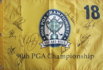 2008 PGA Championship golf pin flag autographed by 13 winners (Padraig Harrington John Daly Jason Day Phil Mickelson Lee Trevino)