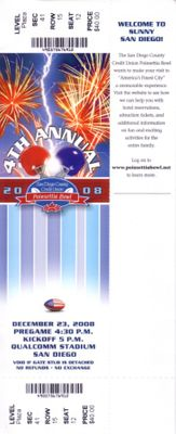 2008 Poinsettia Bowl game ticket (TCU Horned Frogs 17 Boise State Broncos 16)