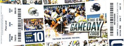 2008 San Diego Chargers vs. Denver Broncos full ticket (LaDainian Tomlinson 3 rushing TDs)