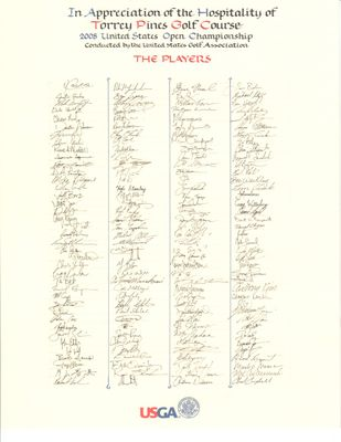 2008 US Open Torrey Pines golf player facsimile signature scroll (Tiger Woods wins major #14)