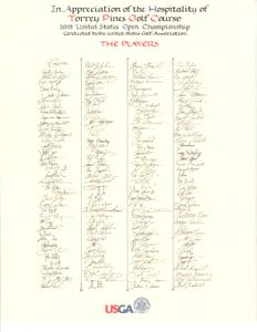 2008 US Open golf player signature scroll (Tiger Woods wins major #14)