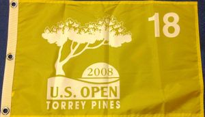 2008 U.S. Open yellow screen printed golf pin flag RARE (Tiger Woods wins 14th major)