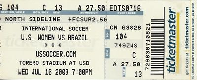 2008 U.S. Women's Olympic soccer team game ticket stub