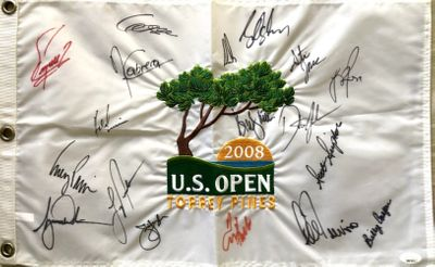 2008 US Open golf embroidered pin flag autographed by 18 winners Tiger Woods Dustin Johnson Lee Trevino JSA