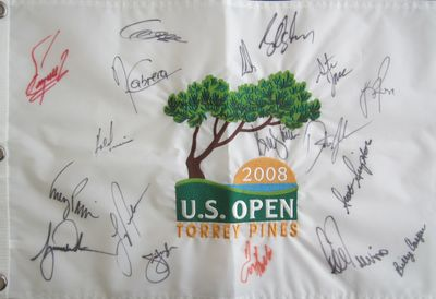 2008 US Open golf embroidered pin flag autographed by 18 winners (Tiger Woods Billy Casper Dustin Johnson Lee Trevino)