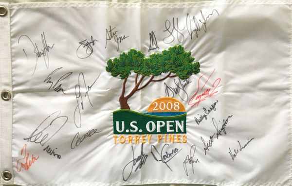 2008 US Open golf embroidered pin flag autographed by 19 winners (Dustin Johnson Jordan Spieth Billy Casper Lee Trevino)