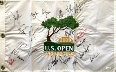 2008 US Open golf embroidered pin flag autographed by 19 winners Dustin Johnson Jordan Spieth Lee Trevino JSA