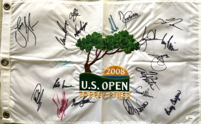 2008 US Open golf embroidered pin flag autographed by 19 winners Tiger Woods Arnold Palmer Gary Player JSA