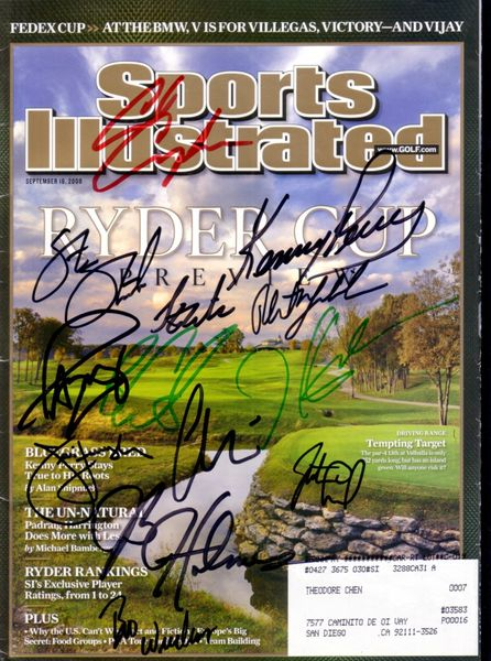 2008 US Ryder Cup Team complete autographed Sports Illustrated magazine (Paul Azinger Phil Mickelson)