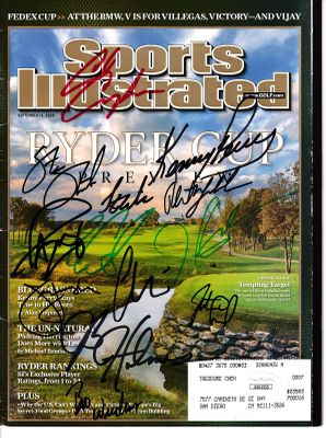 2008 US Ryder Cup Team autographed Sports Illustrated JSA (full team including Paul Azinger and Phil Mickelson)