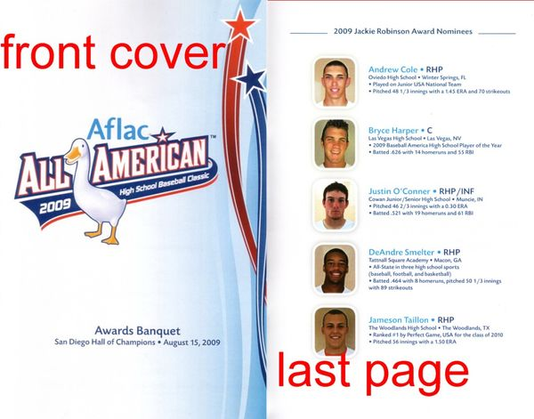 2009 AFLAC High School All-American banquet program (Bryce Harper Player of the Year)