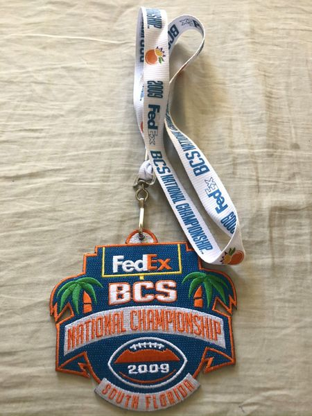 2009 BCS National Championship game white fabric lanyard with jersey patch (Tim Tebow and Florida Gators win)