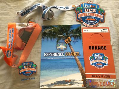 2009 BCS National Championship jersey patch 2 lanyards 2 ticket holders fan guide and 2 parking passes