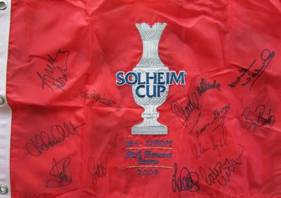 2009 European Solheim Cup Team autographed embroidered golf pin flag (Laura Davies Anna Nordqvist Suzann Pettersen)