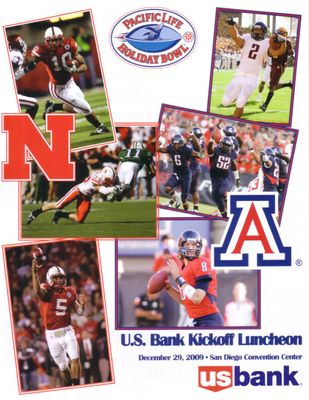 2009 Holiday Bowl Kickoff Luncheon program (Nebraska 33 Arizona 0; Ndamukong Suh last game)