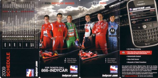 2009 Indy Racing League (IRL) pocket schedule (Scott Dixon Danica Patrick Dan Wheldon)