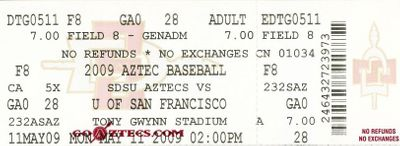 2009 San Diego State Aztecs baseball game ticket (Stephen Strasburg last home game)