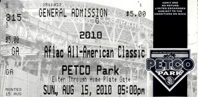 2010 AFLAC All-American Classic baseball game ticket stub (Javier Baez Francisco Lindor)