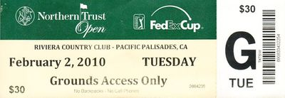 2010 Northern Trust Open Riviera golf ticket (Steve Stricker wins)