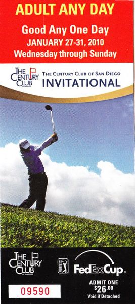 2010 Century Club Invitational Torrey Pines golf ticket (Ben Crane wins)