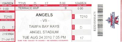 2010 Tampa Bay Rays (AL East Champions) at Los Angeles Angels full ticket