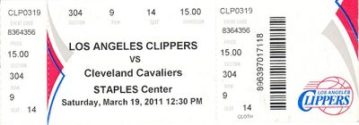 2011 Los Angeles Clippers vs. Cleveland Cavaliers ticket (Blake Griffin rookie season)