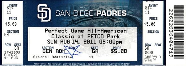 2011 Perfect Game All-American ticket (Carlos Correa David Dahl Max Fried Joey Gallo Corey Seager)