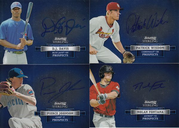 2012 Bowman Sterling lot of 4 certified autograph cards (D.J. Davis Nolan Fontana Pierce Johnson Patrick Wisdom)