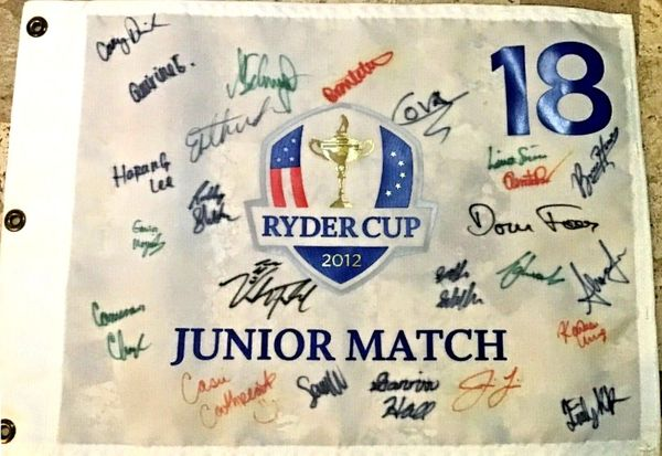 2012 Junior Ryder Cup golf pin flag autographed by all 24 players (Cameron Champ Scottie Scheffler Alison Lee)