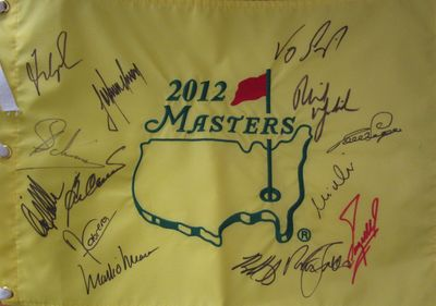 2012 Masters golf pin flag autographed by 14 winners Bubba Watson Phil Mickelson Fred Couples Ben Crenshaw Nick Faldo