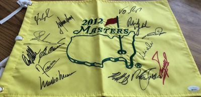 2012 Masters golf pin flag autographed by 14 winners Bubba Watson Phil Mickelson Fred Couples Ben Crenshaw Nick Faldo (JSA)