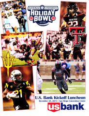 2013 Holiday Bowl game ticket stub & lunch program (Texas Tech 37 Arizona State 23)