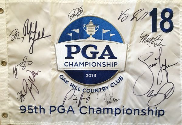 2013 PGA Championship embroidered golf pin flag autographed by 12 winners (Jason Day John Daly Jason Dufner Phil Mickelson)