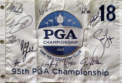 2013 PGA Championship golf pin flag autographed by 12 winners Jason Day John Daly Jason Dufner Phil Mickelson JSA