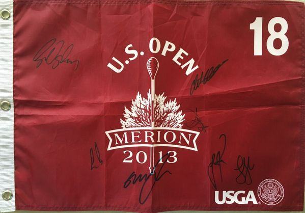 2013 US Open golf pin flag autographed by 7 winners Justin Rose Ernie Els Jim Furyk Retief Goosen