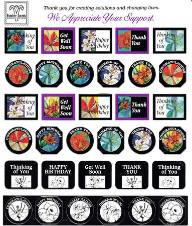 2014 Easter Seals set of 2 unused sheets of 75 silver foil stamps NEW AND UNUSED