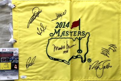 2014 Masters flag autographed by 7 winners (Bubba Watson Fred Couples Nick Faldo Patrick Reed) JSA