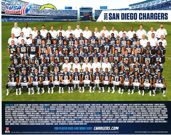 2014 San Diego Chargers 8x10 team photo Keenan Allen Antonio Gates Philip Rivers