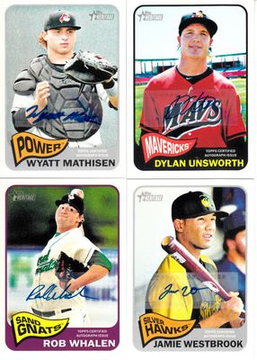 2014 Topps Heritage lot of 4 certified autograph cards (Wyatt Mathisen Dylan Unsworth Jamie Westbrook Rob Whalen)
