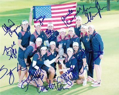 2015 U.S. Solheim Cup Team autographed 8x10 photo (Paula Creamer Stacy Lewis Lexi Thompson Michelle Wie)