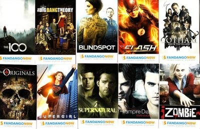 Fandango Now 2016 Comic-Con promo Warner Brothers 10 card set (Big Bang Theory Flash Gotham Supernatural)