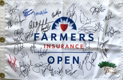 2016 Farmers Insurance Open autographed golf pin flag (Phil Mickelson Rickie Fowler Justin Rose Brandt Snedeker)