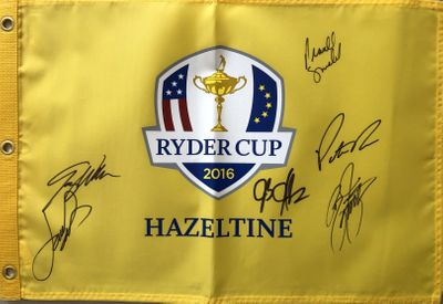 2016 U.S. Ryder Cup Team autographed golf pin flag Rickie Fowler Patrick Reed Jordan Spieth Jimmy Walker