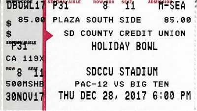 2017 Holiday Bowl ticket stub (Michigan State 42, Washington State 17)
