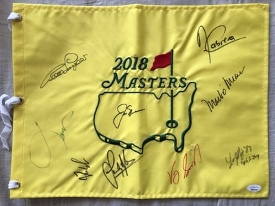 2018 Masters flag autographed by 9 winners Jack Nicklaus Jordan Spieth Fred Couples Bernhard Langer (JSA)