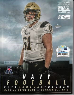 2018 Notre Dame Fighting Irish vs Navy at San Diego college football game program